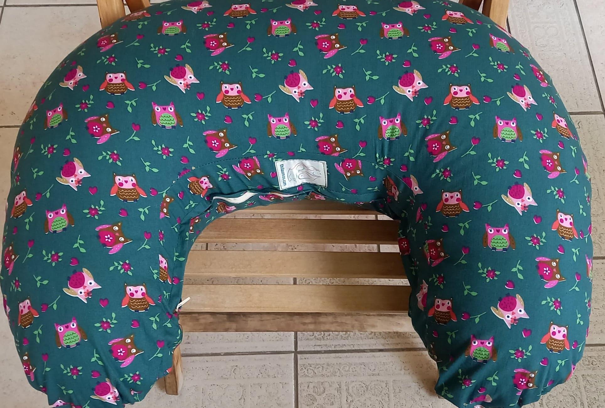 Μαξιλάρι θηλασμού - Thilasmos - Πράσινο, ροζ κουκουβάγιες