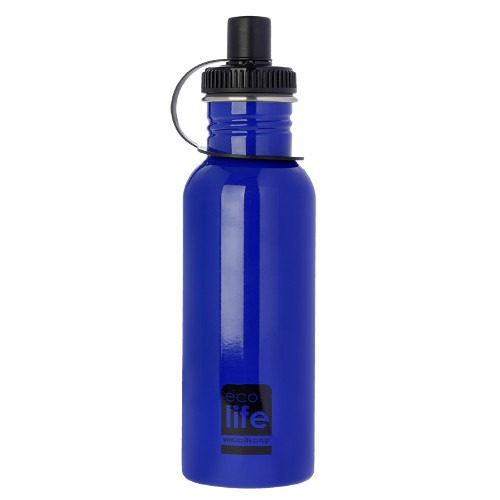 Μπουκάλι μεταλλικό, ανοξείδωτο 600ml - Ecolife - Μπλε