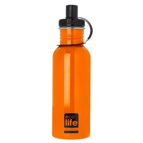Μπουκάλι μεταλλικό, ανοξείδωτο 600ml - Ecolife - Πορτοκαλί