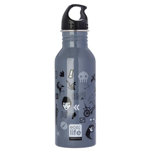 Μπουκάλι μεταλλικό, ανοξείδωτο 600ml - Ecolife - Trends