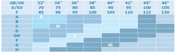 Σουτιέν θηλασμού gel wired - Cariwell - Size chart
