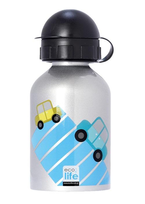 Μπουκάλι παιδικό, ανοξείδωτο, 400ml - Ecolife - Αυτοκινητάκια