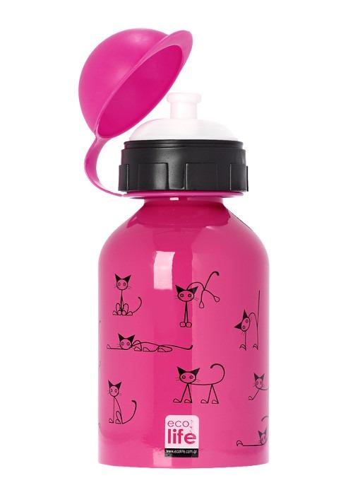 Μπουκάλι παιδικό, ανοξείδωτο, 400ml - Ecolife - Γατούλες