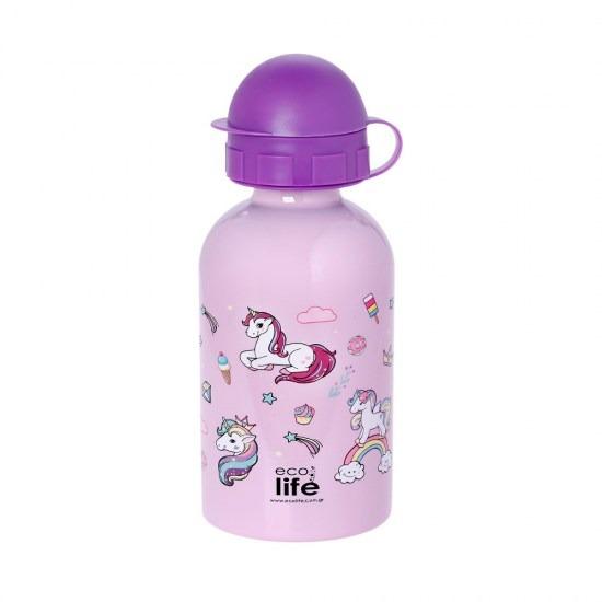 Μπουκάλι παιδικό, ανοξείδωτο, 400ml - Ecolife - Μονόκερος