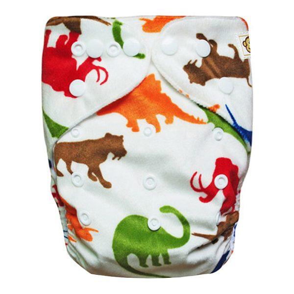 Πλενόμενη υφασμάτινη πάνα, χνουδωτή, Pocket One size - Funky Monkey - Animals