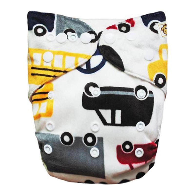 Πλενόμενη υφασμάτινη πάνα, χνουδωτή, Pocket One size - Funky Monkey - Cars