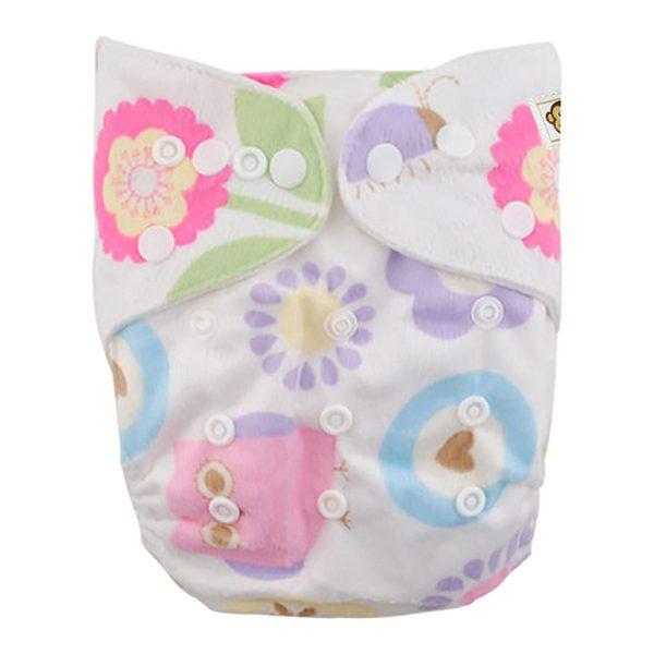 Πλενόμενη υφασμάτινη πάνα,χνουδωτή, Pocket One size – Funky Monkey - Flowers
