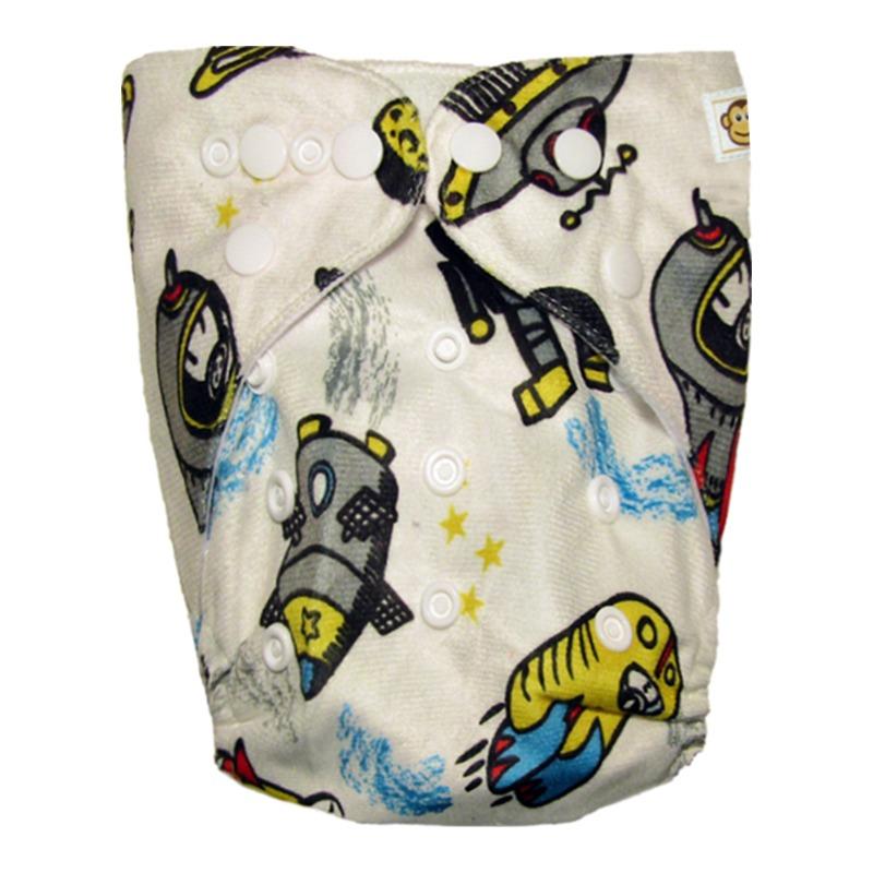 Πλενόμενη υφασμάτινη πάνα, χνουδωτή, Pocket One size - Funky Monkey - Space