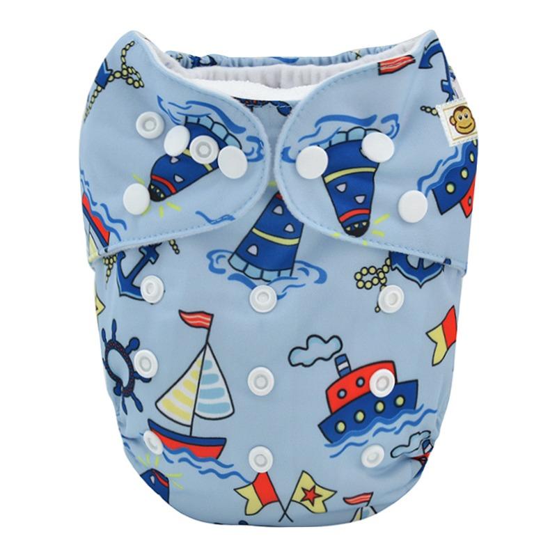 Πλενόμενη υφασμάτινη πάνα, Pocket One size – Funky Monkey - Boats
