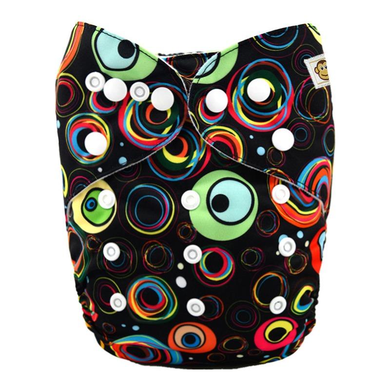Πλενόμενη υφασμάτινη πάνα, Pocket One size – Funky Monkey - Circles black