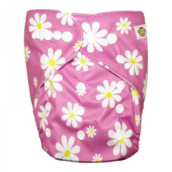 Πλενόμενη υφασμάτινη πάνα, Pocket One size – Funky Monkey - Flowers pink