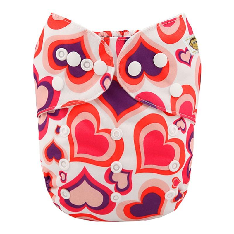 Πλενόμενη υφασμάτινη πάνα, Pocket One size – Funky Monkey - Hearts