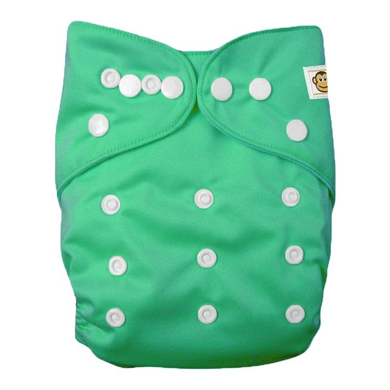 Πλενόμενη υφασμάτινη πάνα, Pocket One size – Funky Monkey - Πράσινο