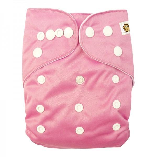 Πλενόμενη υφασμάτινη πάνα, Pocket One size – Funky Monkey - Ροζ