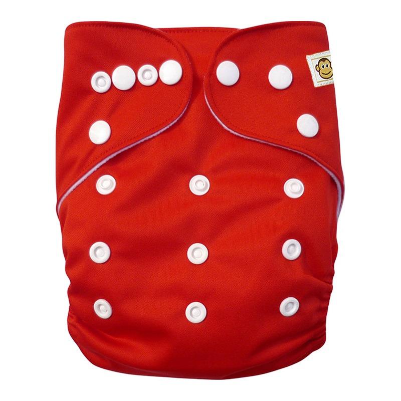 Πλενόμενη υφασμάτινη πάνα, Pocket One size – Funky Monkey - Κόκκινο