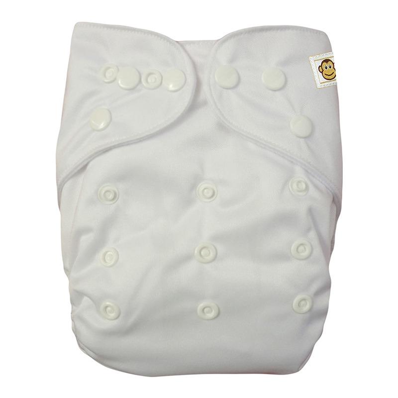 Πλενόμενη υφασμάτινη πάνα, Pocket One size – Funky Monkey - Λευκό