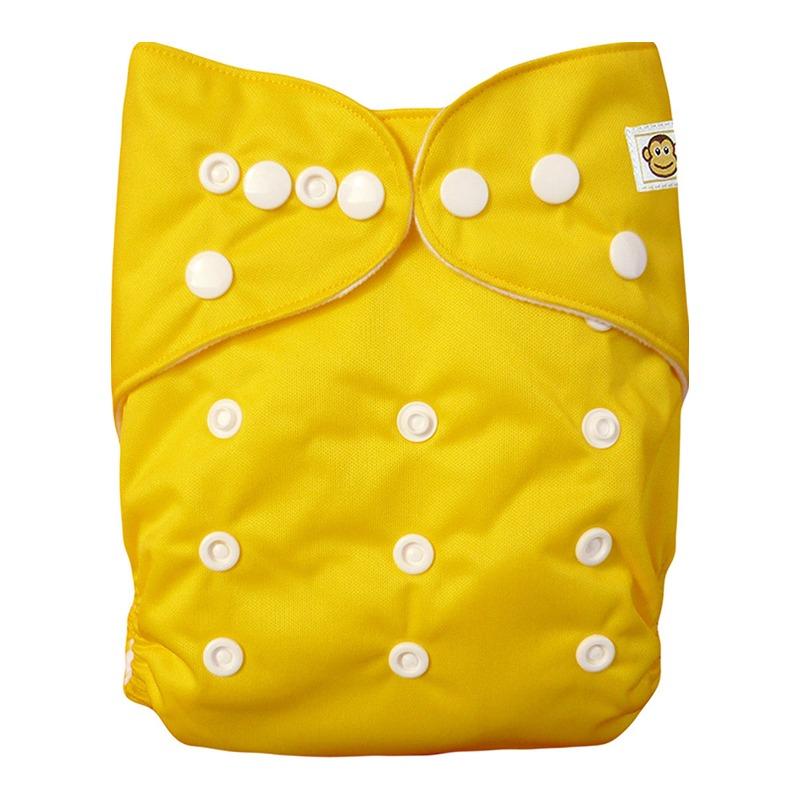 Πλενόμενη υφασμάτινη πάνα, Pocket One size – Funky Monkey - Κίτρινο