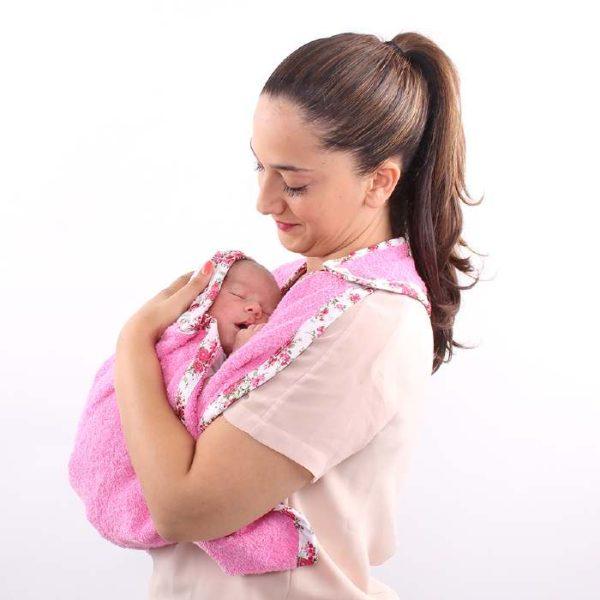 Πετσέτα αγκαλιάς για νεογέννητο - Minene - Ροζ