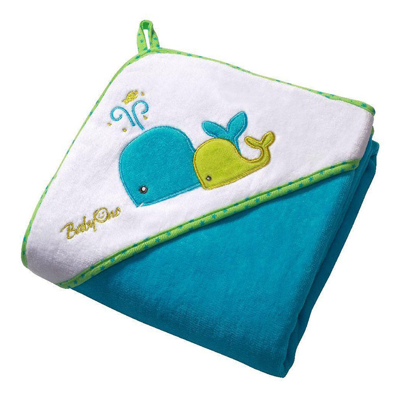 Πετσέτα Βελουτέ με κουκούλα - Babyono - Μπλε φάλαινες