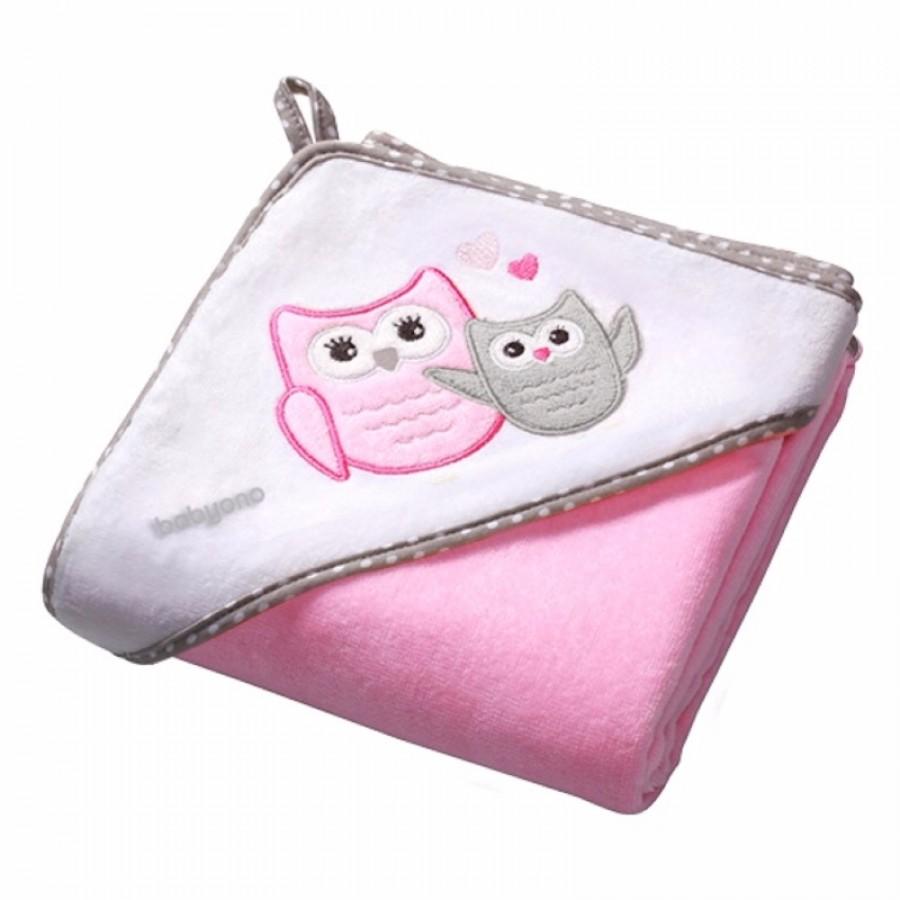 Πετσέτα βελουτέ Babyono-Ροζ κουκουβάγιες