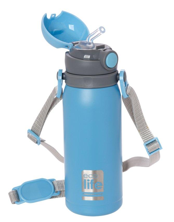 Μπουκάλι-θερμός ανοξείδωτο, με καλαμάκι, 400ml - Ecolife
