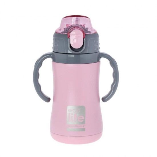 Μπουκάλι-θερμός ανοξείδωτο, με χερούλια, 300ml - Ecolife-ΡΟΖ2