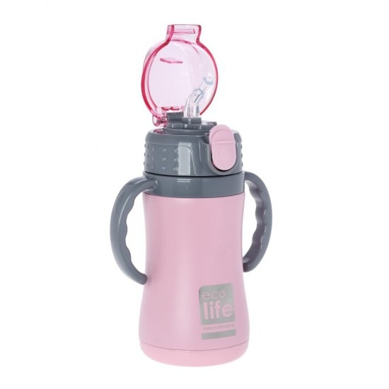 Μπουκάλι-θερμός ανοξείδωτο, με χερούλια, 300ml - Ecolife-ΡΟΖ