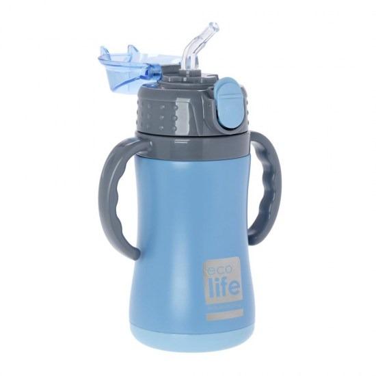Μπουκάλι-θερμός ανοξείδωτο, με χερούλια, 300ml - Ecolife - ΓΑΛΑΖΙΟ