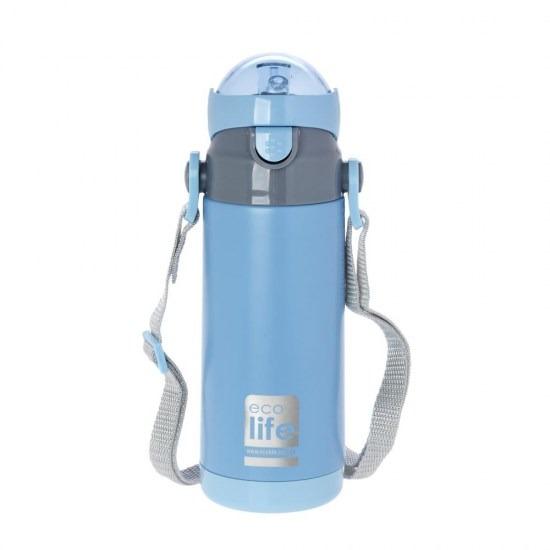 Μπουκάλι-θερμός ανοξείδωτο, με καλαμάκι, 400ml - Ecolife-ΓΑΛΑΖΙΟ2