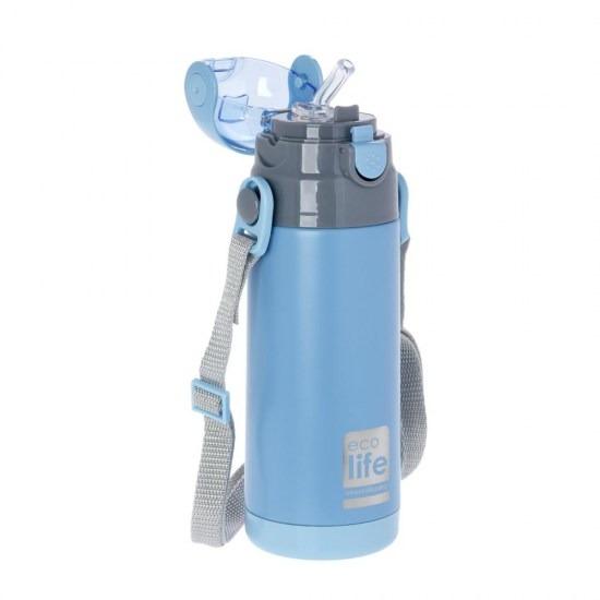 Μπουκάλι-θερμός ανοξείδωτο, με καλαμάκι, 400ml - Ecolife-ΓΑΛΑΖΙΟ