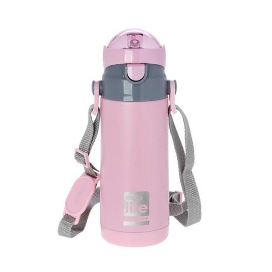 Μπουκάλι-θερμός ανοξείδωτο, με καλαμάκι, 400ml - Ecolife-ΡΟΖ