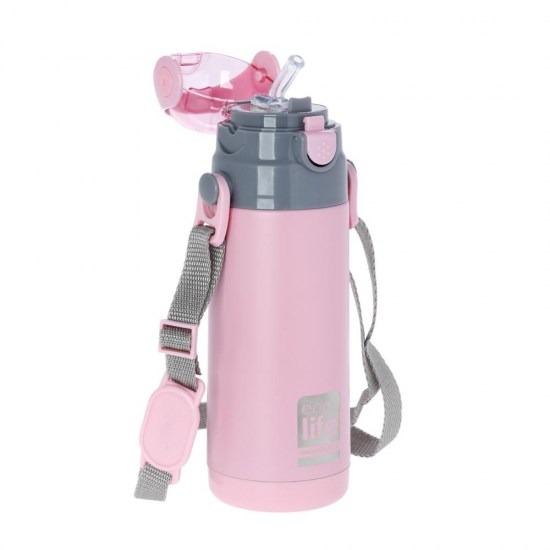 Μπουκάλι-θερμός ανοξείδωτο, με καλαμάκι, 400ml - Ecolife-ΡΟΖ2