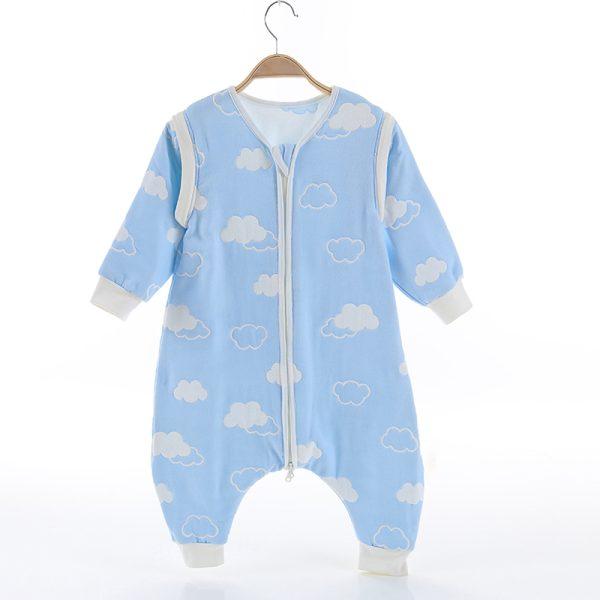 Υπνόσακος με πόδια, βαμβακερός 100%, 6-18 μηνών - Funky monkey - Γαλάζιο, συννεφάκια