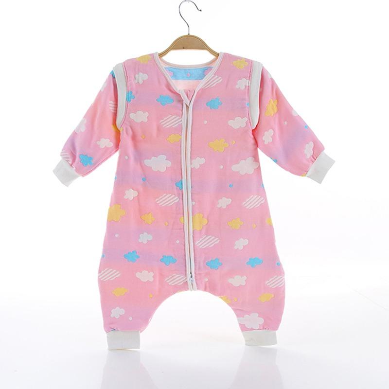 Υπνόσακος με πόδια, βαμβακερός 100%, 6-18 μηνών - Funky monkey - Ροζ, συννεφάκια