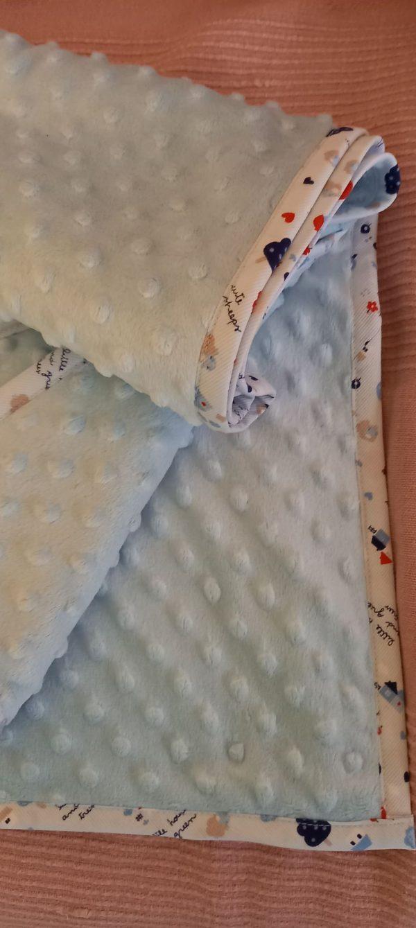 Κουβέρτα μωρού minky γαλάζια