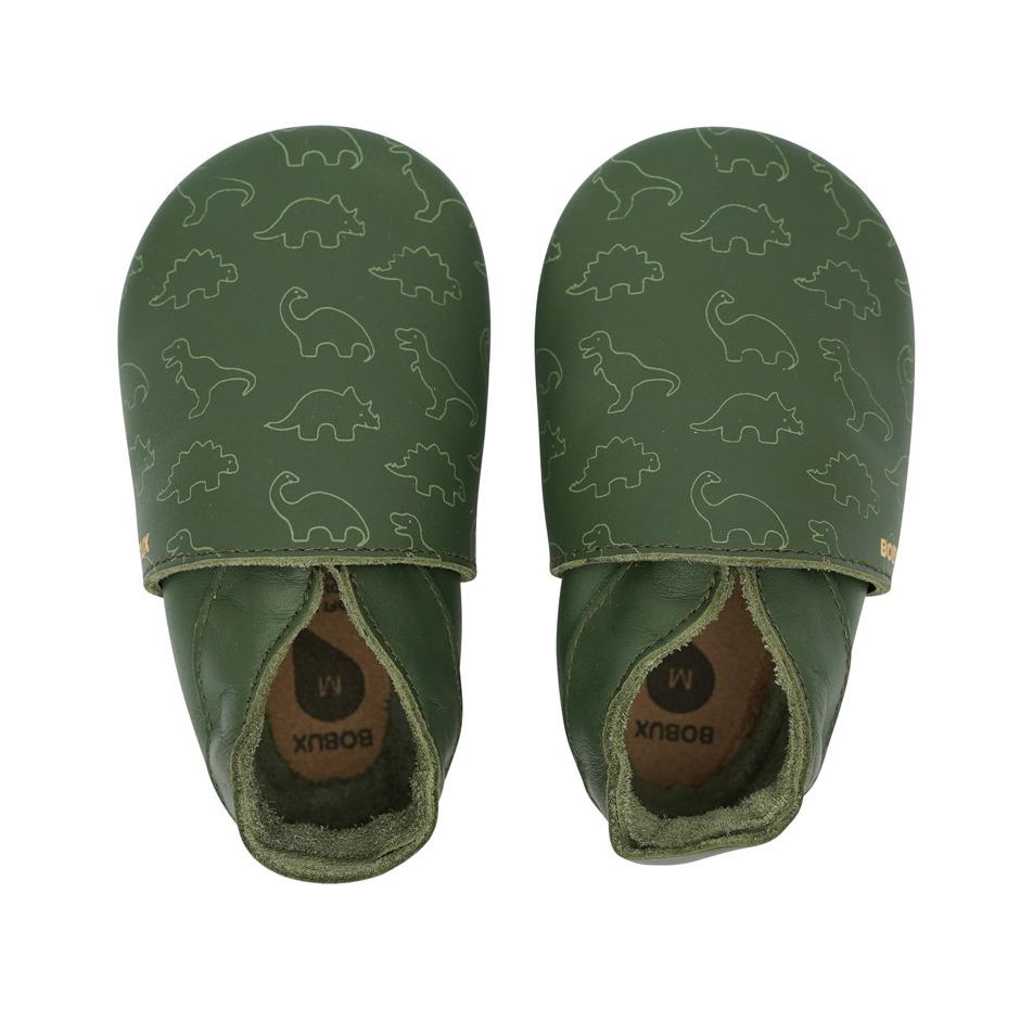 Βρεφικα παπουτσάκια Bobux soft sole - Πράσινο, δεινόσαυροι