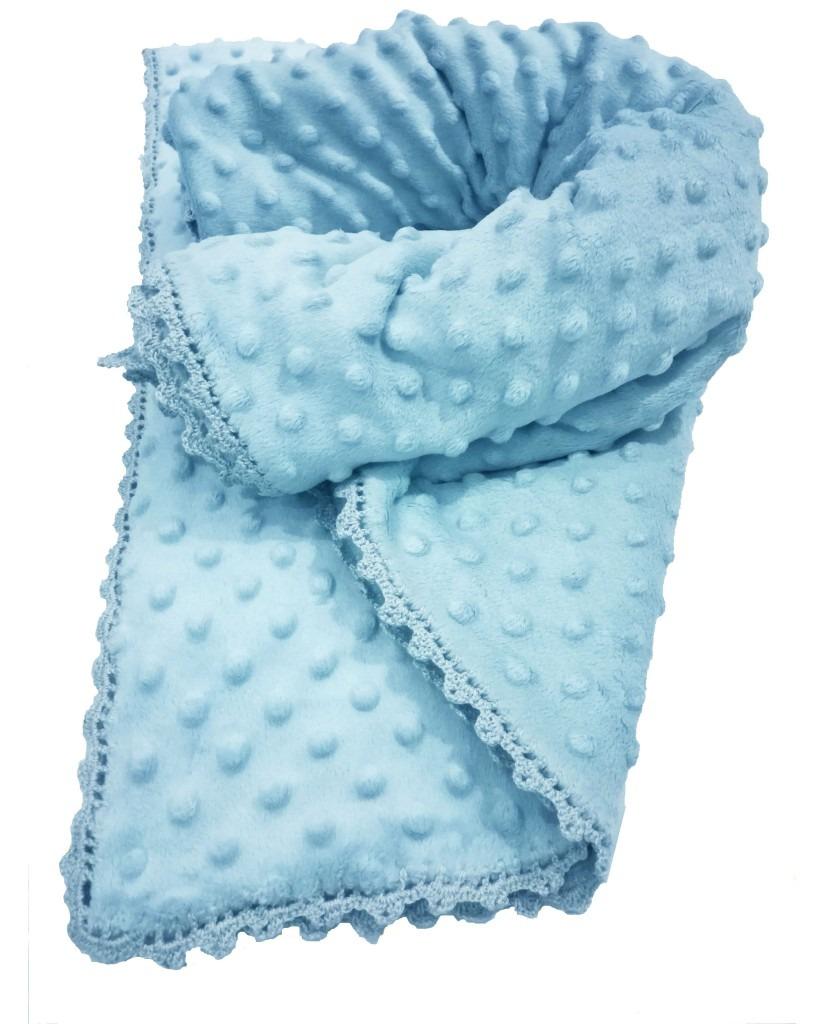 Κουβέρτα μωρού minky - Γαλάζιο