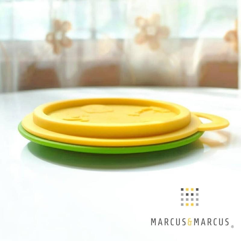 Μπολ φαγητού σιλικόνης, πτυσσόμενο, με καπάκι - Marcus and Marcus - Πράσινο-κίτρινο