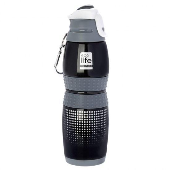 Μπουκάλι-θερμός ανοξείδωτο, 400ml - Ecolife- Μαύρο