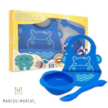 Βρεφικό σετ φαγητού σιλικόνης - Marcus & Marcus - Μπλε