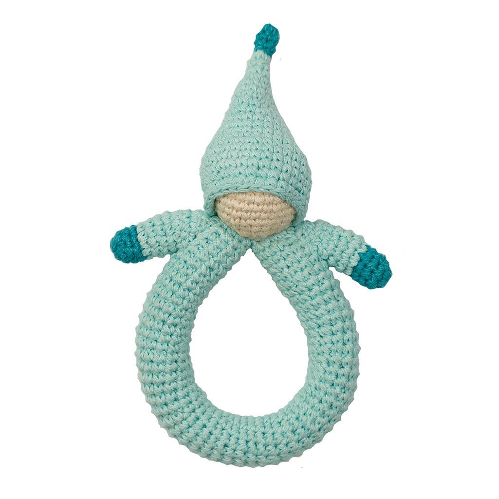 Πλεκτή κουδουνίστρα από 100% οργανικό βαμβάκι - hoppa doll blue