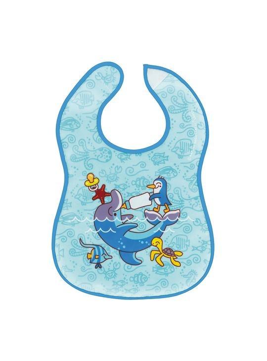 Σαλιάρα πλαστική, με τσέπη - LAKEN-δελφίνι