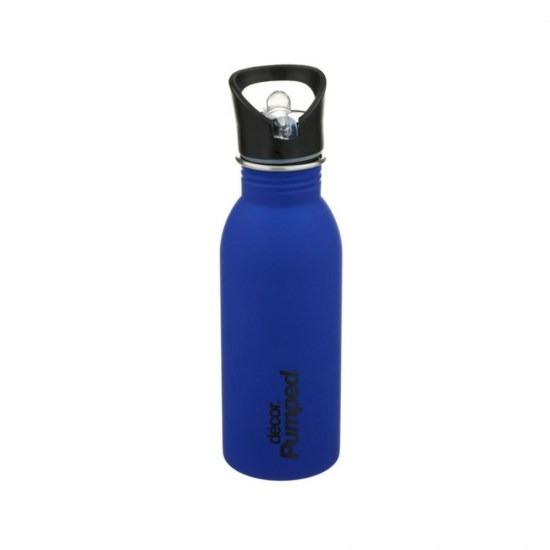 Ανοξείδωτο μπουκάλι Decor με καλαμάκι-ΜΠΛΕ