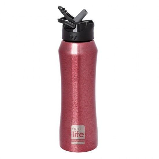 Mπουκάλι-θερμός με καλαμάκι - Ecolife - ΚΟΚΚΙΝΟ