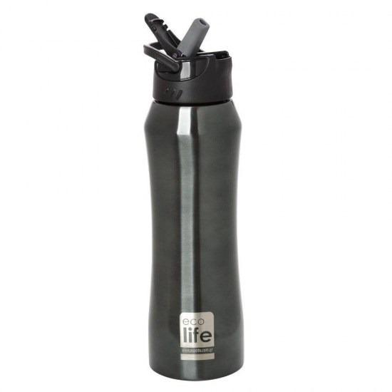 Mπουκάλι-θερμός με καλαμάκι - Ecolife - ΜΑΥΡΟ