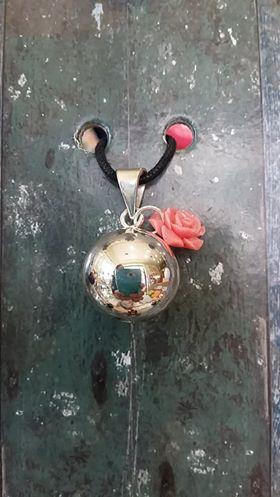 Μουσικό μενταγιόν εγκυμοσύνης Bola - Ασημί με τριαντάφυλλο