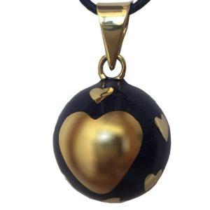 Μουσικό μενταγιόν εγκυμοσύνης Bola – Μπλε με χρυσές καρδούλες