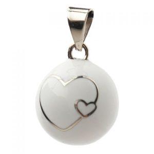 Μουσικό μενταγιόν εγκυμοσύνης Bola – White two hearts