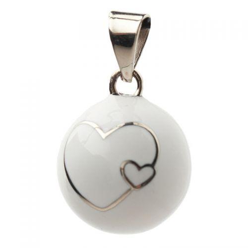 Μουσικό μενταγιόν εγκυμοσύνης Bola - White two hearts
