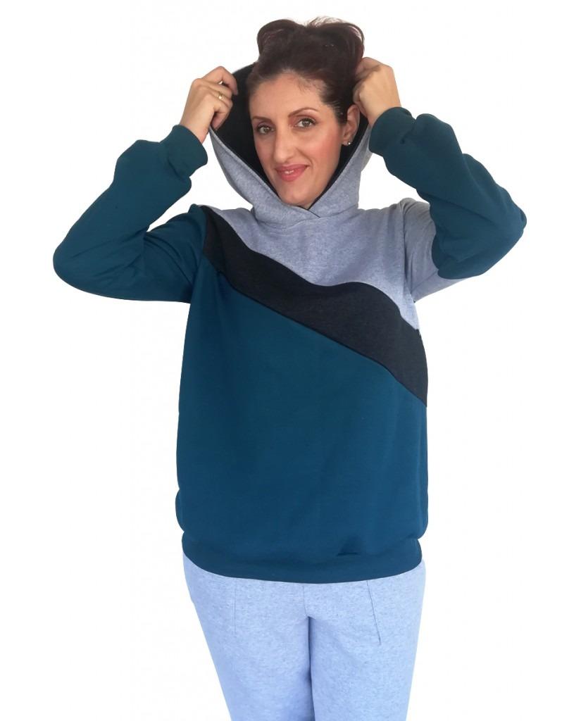 Μπλούζα θηλασμού, φούτερ, τρίχρωμη, με διαγώνια φάσα και κουκούλα2